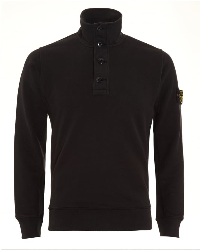 Stone Island Mens Sweatshirt, Black Half Button Funnel Neck Jumper