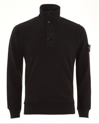 Mens Sweatshirt, Black Half Button Funnel Neck Jumper