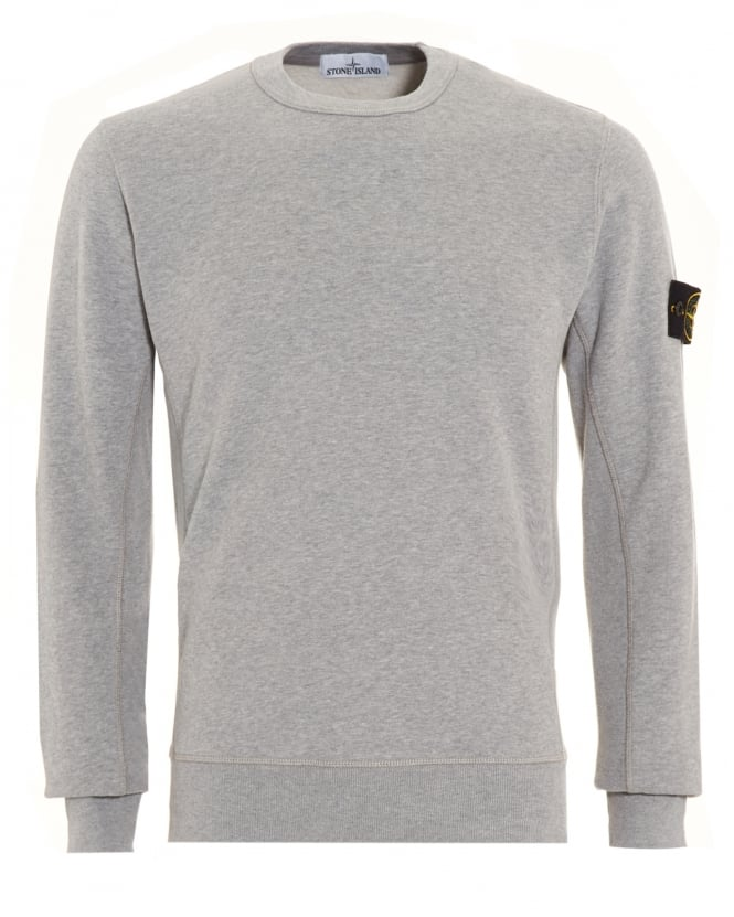Stone Island Mens Sweatshirt, Grey Dyed Logo Badge Jumper
