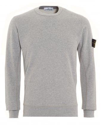 Mens Sweatshirt, Grey Dyed Logo Badge Jumper