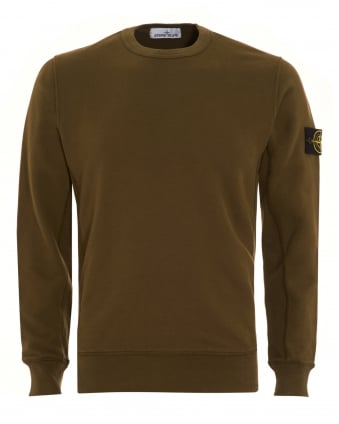 Mens Sweatshirt, Military Green Dyed Logo Badge Jumper