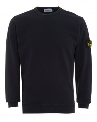 Mens Sweatshirt, Navy Blue Dyed Logo Badge Jumper