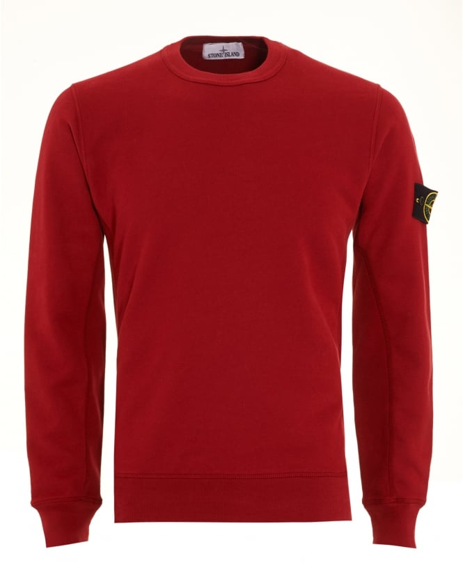 Stone Island Mens Sweatshirt, Red Dyed Logo Badge Jumper
