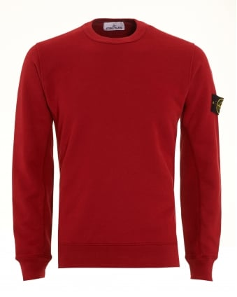 Mens Sweatshirt, Red Dyed Logo Badge Jumper