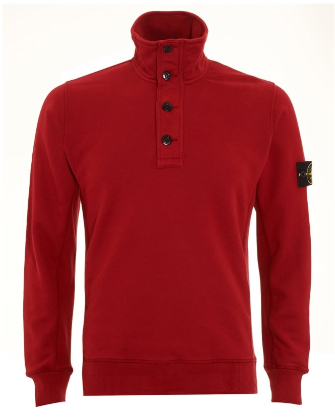 Stone Island Mens Sweatshirt, Red Half Button Funnel Neck Jumper