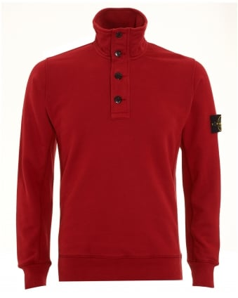 Mens Sweatshirt, Red Half Button Funnel Neck Jumper