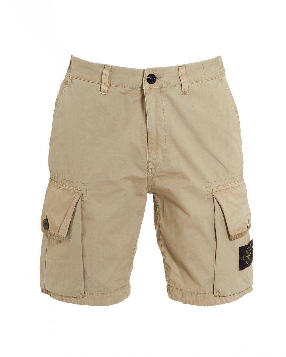 Stone Island Mens T.CO OLD Beige Cargo Pocket Shorts