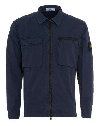 Mens T.CO+OLD Overshirt, Brushed Cotton Blue Marine Jacket