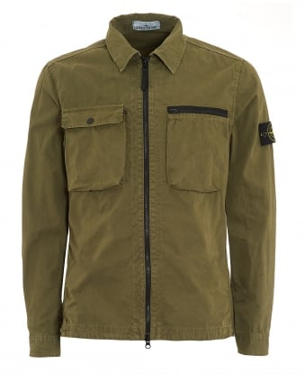 Mens T.CO+OLD Overshirt, Brushed Cotton Military Green Jacket