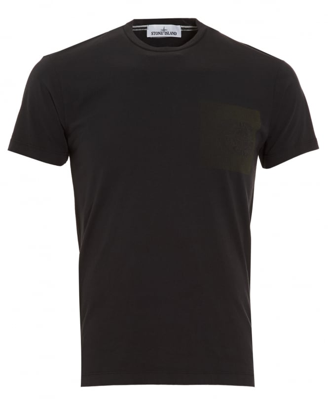 Stone Island Mens T-Shirt, Black Graphic Print Compass Logo Tee