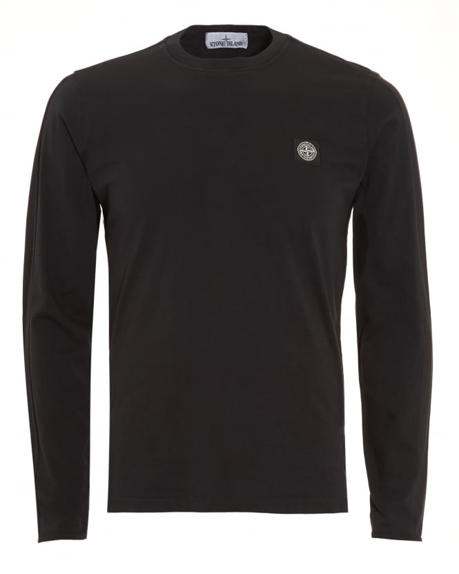 Stone Island Mens T-Shirt, Black Long Sleeve Tee