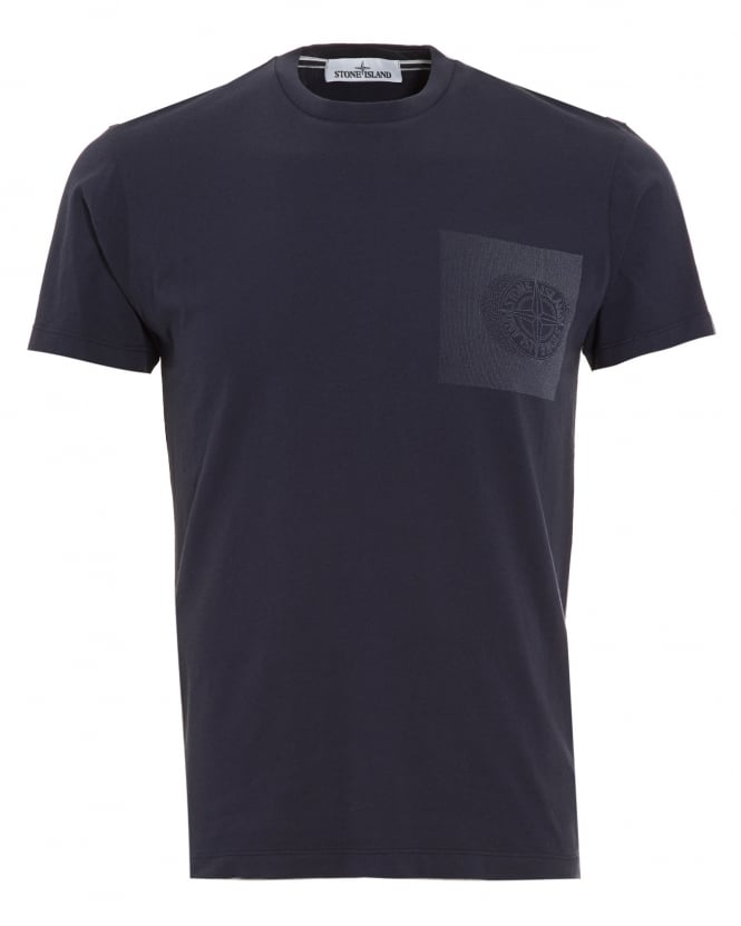 Stone Island Mens T-Shirt, Navy Blue Graphic Print Compass Logo Tee