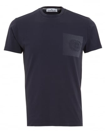Mens T-Shirt, Navy Blue Graphic Print Compass Logo Tee