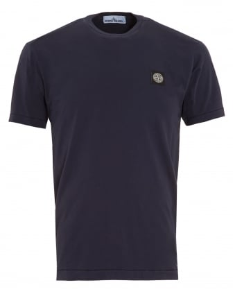 Mens T-Shirt, Navy Blue Regular Fit Compass Logo Tee