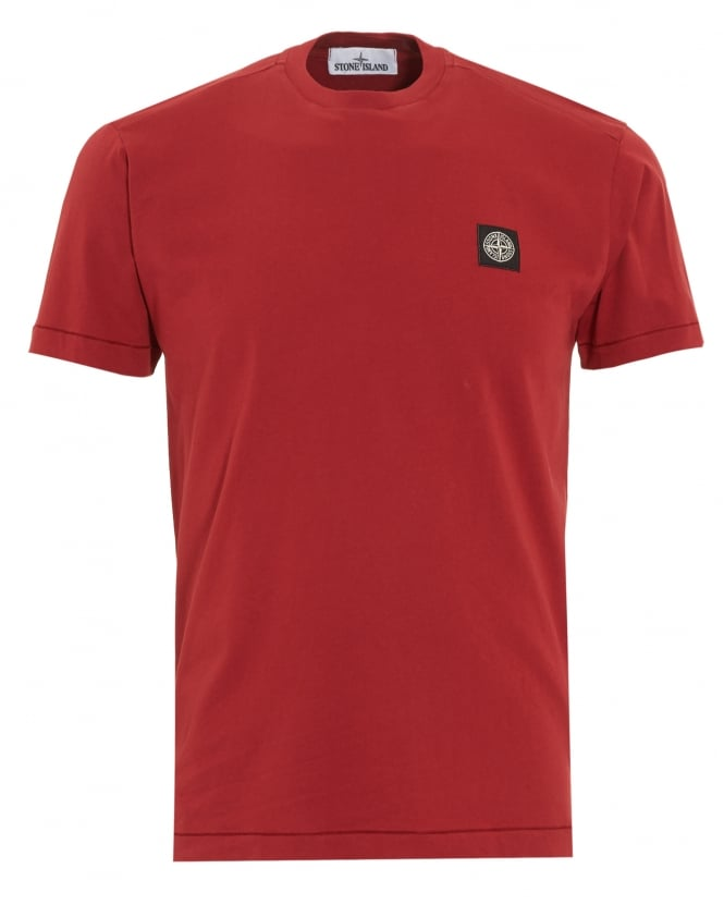 Stone Island Mens T-Shirt, Red Regular Fit Compass Logo Tee