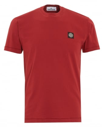 Mens T-Shirt, Red Regular Fit Compass Logo Tee