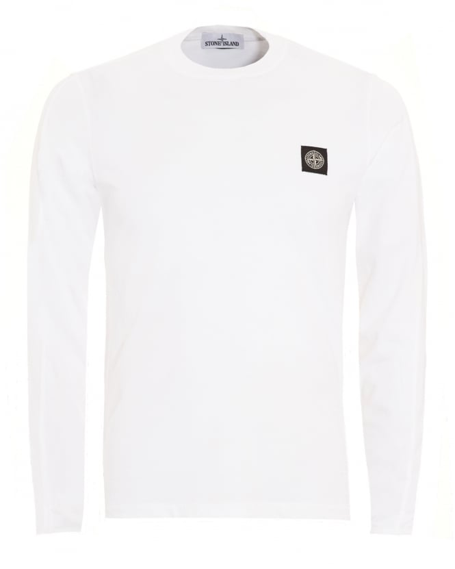Stone Island Mens T-Shirt, White Long Sleeve Tee