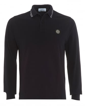 Mens Tipped Collar Polo Shirt, Long Sleeved Navy Blue Polo