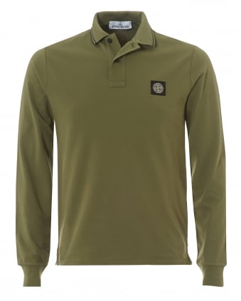 Mens Tipped Collar Polo Shirt, Long Sleeved Salvia Green Polo