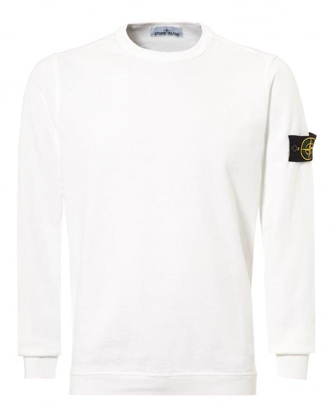 Repertoire Fashion Stone Island Mens White Garment Dyed Compass Logo Sweatshirt