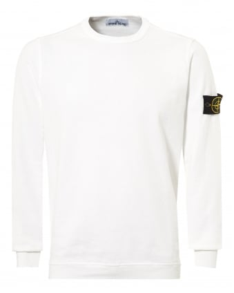 Mens White Garment Dyed Compass Logo Sweatshirt