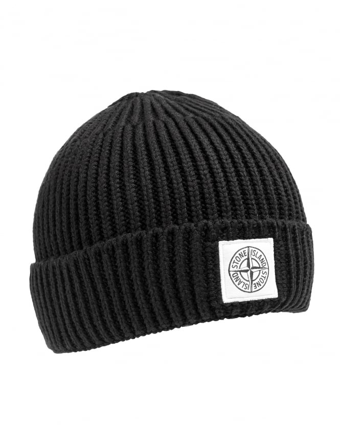 Stone Island Mens Wool Hat, Black Knit Logo Beanie