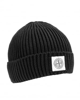 Mens Wool Hat, Black Knit Logo Beanie