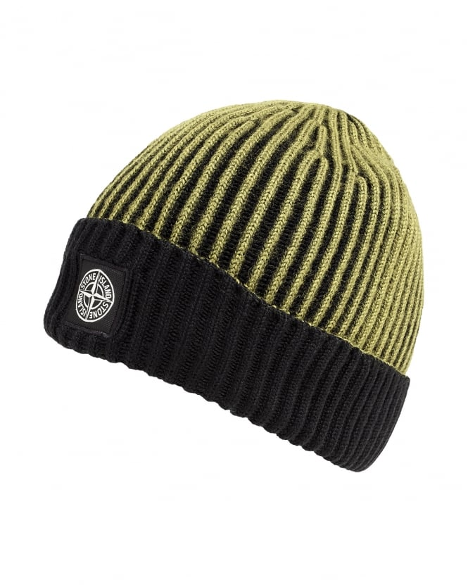 Stone Island Mens Wool Hat, Lime Black Logo Beanie