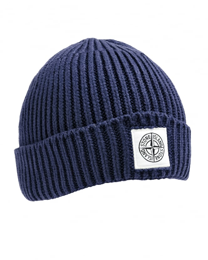 Stone Island Mens Wool Hat, Navy Blue Knit Logo Beanie