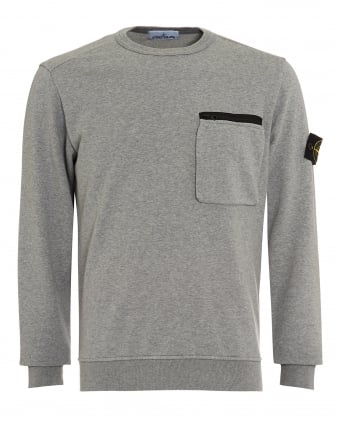 Mens Zip Pocket Jumper, Polvere Grey Sweatshirt