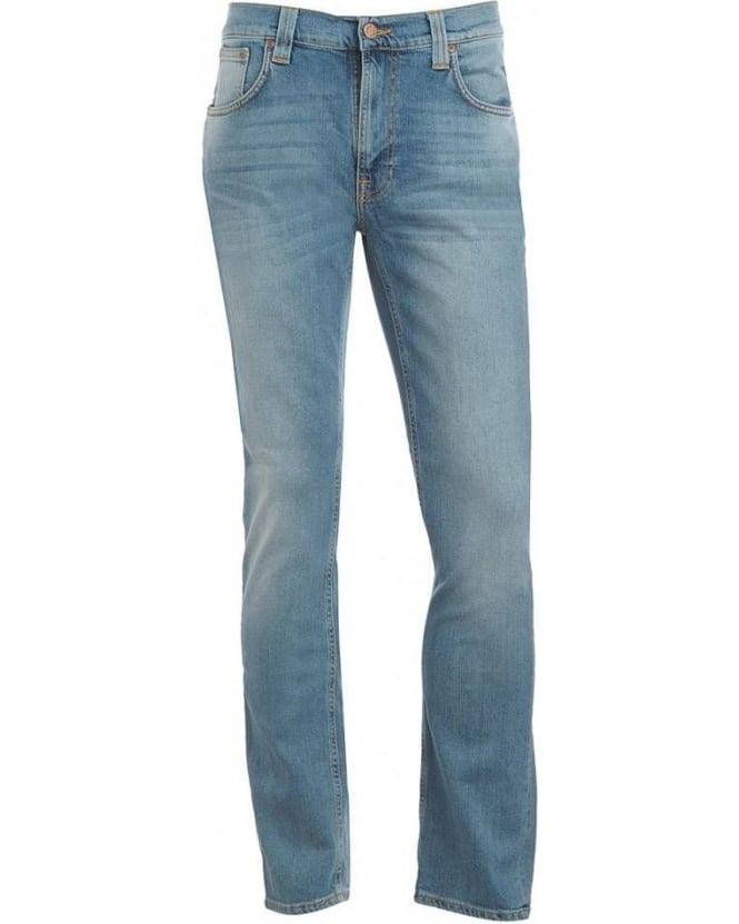Nudie Jeans Stone Wash Thin Finn Whiskered Summer Sky Jeans