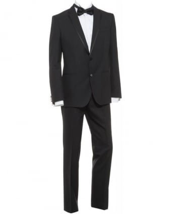 Suit Black Silk Wool Slim Fit 'Herold Gino' Dinner Suit