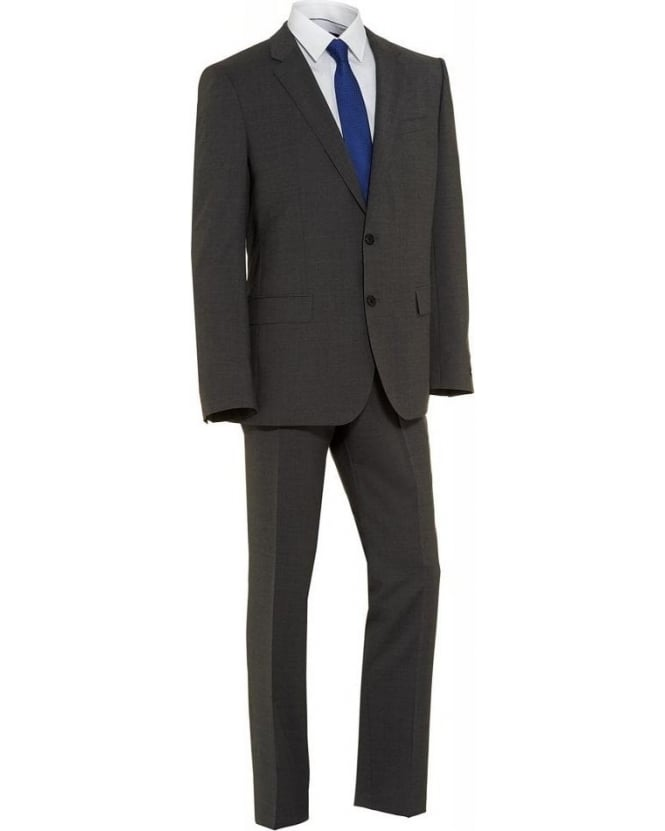 Hugo Boss Black Suit Grey Two Button Plain 'Huge3 Genius2' Suit