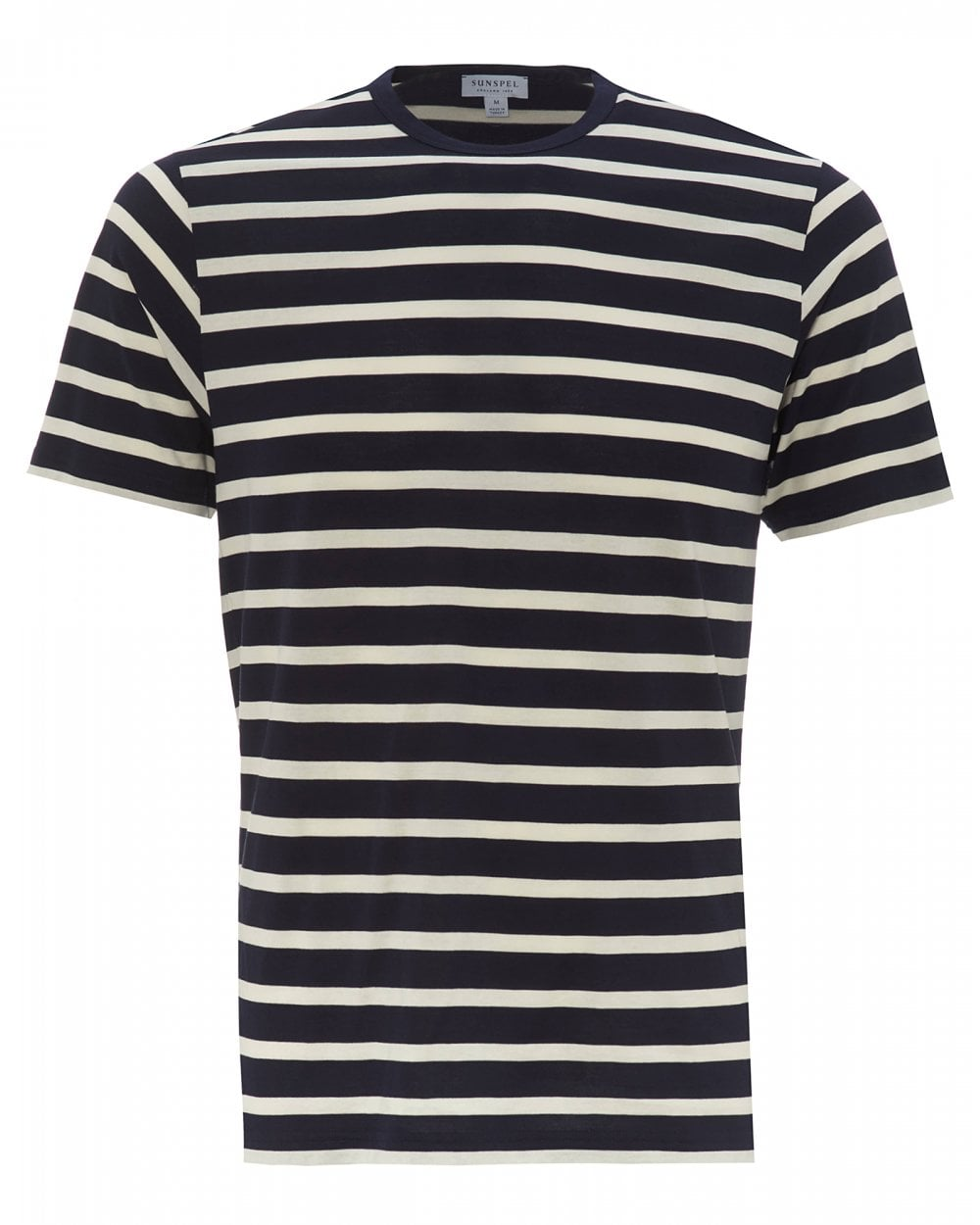 7c758f5aaa Sunspel Mens Breton Striped T-Shirt, Navy Blue Ecru Tee