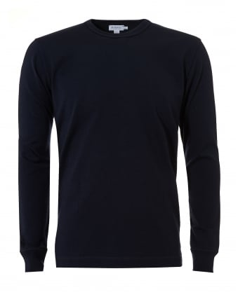 Mens Crew Neck Jumper, Cotton Navy Blue Sweater
