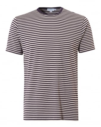 Mens Fine Stripe T-Shirt, Aubergine Bisque Short Sleeve Tee