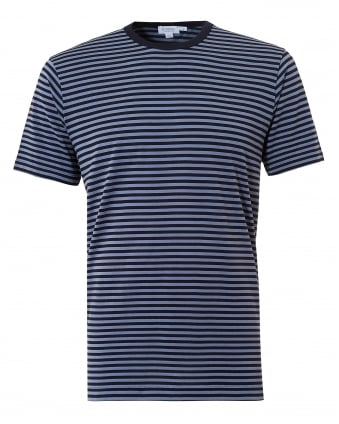 Mens Fine Stripe T-Shirt, Navy Ash Blue Short Sleeve Tee