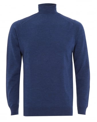 Mens Jumper, Blue Merino Wool Roll Neck Sweater