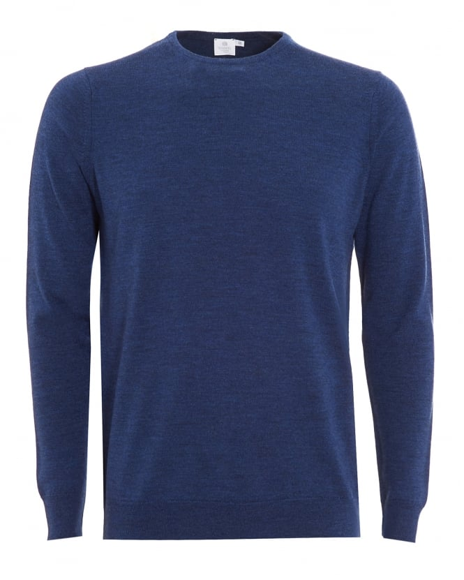 Sunspel Mens Jumper, Blue Merino Wool Sweater
