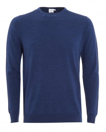 Mens Jumper, Blue Merino Wool Sweater