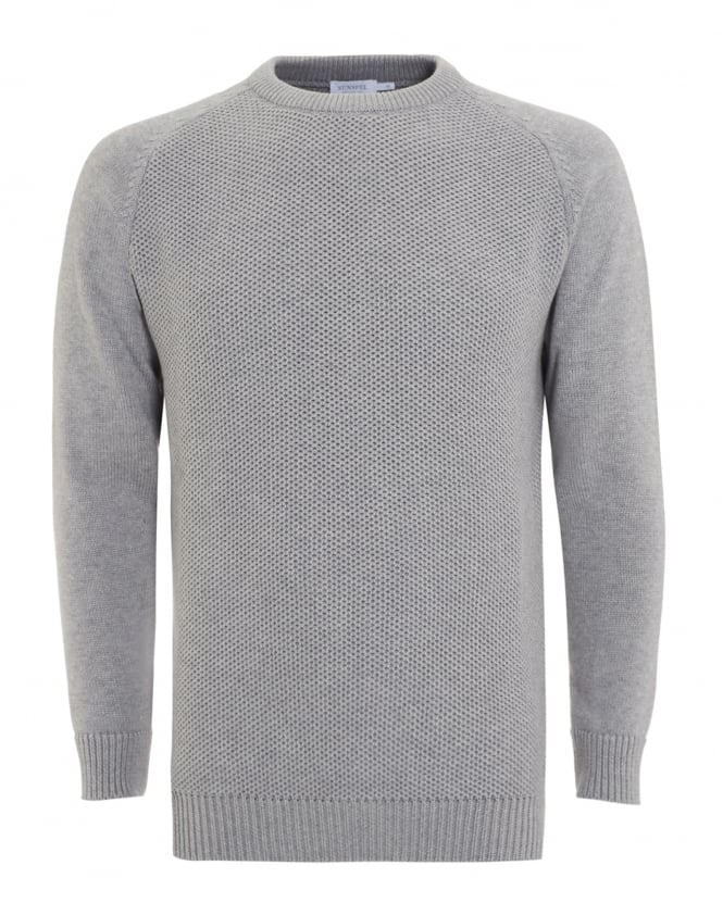 Sunspel Mens Jumper, Light Grey Textured Knitted Sweater
