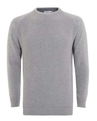 Mens Jumper, Light Grey Textured Knitted Sweater