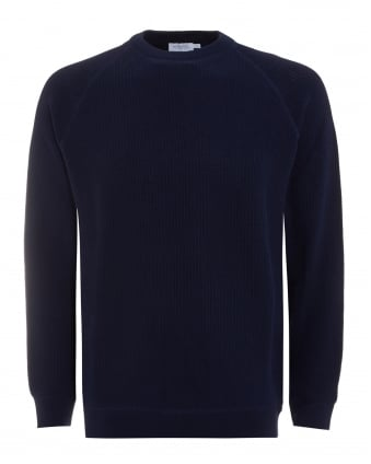 Mens Jumper, Navy Blue Crew Neck Knitted Sweater