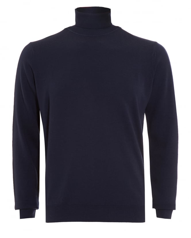 Sunspel Mens Jumper, Navy Blue Merino Wool Roll Neck Sweater