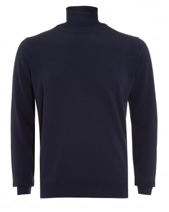 Mens Jumper, Navy Blue Merino Wool Roll Neck Sweater