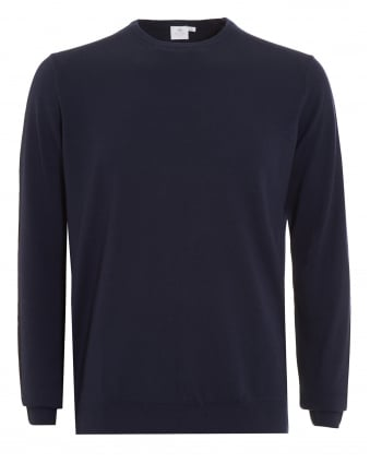 Mens Jumper, Navy Blue Merino Wool Sweater