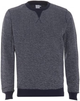 Mens Jumper Reverse Loopback Navy Sweatshirt