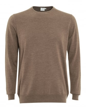 Mens Jumper, Tan Brown Merino Wool Sweater
