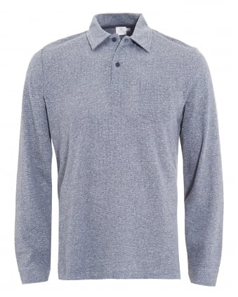 Mens Long Sleeve Blue Marl Polo Shirt
