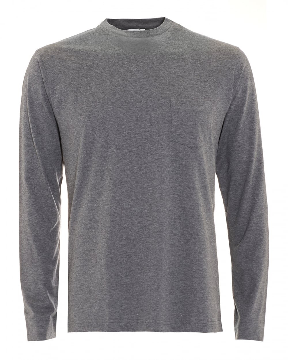 sunspel mens long sleeve charcoal grey t shirt